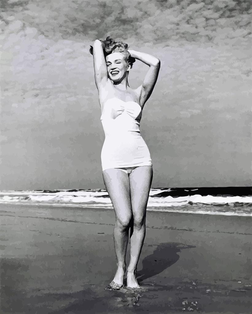 Marilyn fotografiada por André De Dienes, Tobey Beach, Long Island, NY, julio de 1949