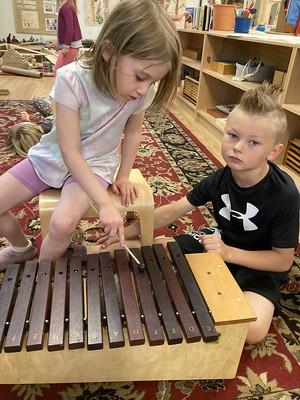 playing the marimba