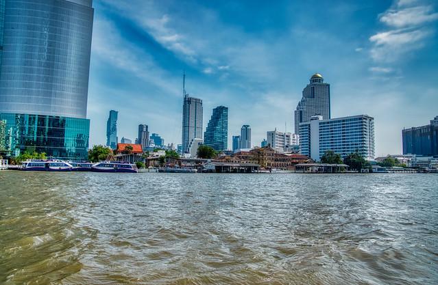 Bangkok Skyline from the Chao Phraya river in Bangkok, Thailand