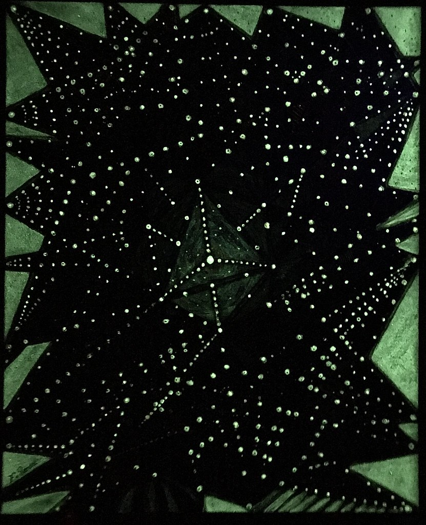 The Web,( in the dark ) Acrylic mix on canvas  visible in the dark 56x46 cm, By Farshad Sanaee The Apple.