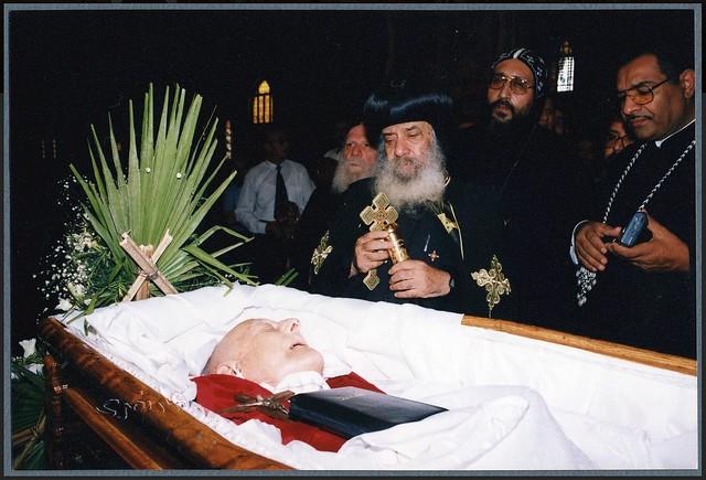 His Holiness Pope Shenouda III at Ragheb Moftah's funeral  June 18 2001