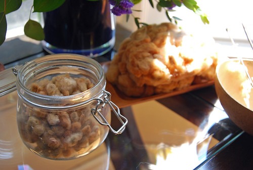 Natural brown cotton seeds grown by Fibergal and spun by irieknit are in a small sized glass jar with the hinged lid open.  A small wooden tray is to the right of the jar with the unspun seeds and a calabash bowl is to the edge of the image with the tips of two spindles showing.  The items are in front of a glass vase with flowers, and are all on a glass top side table.