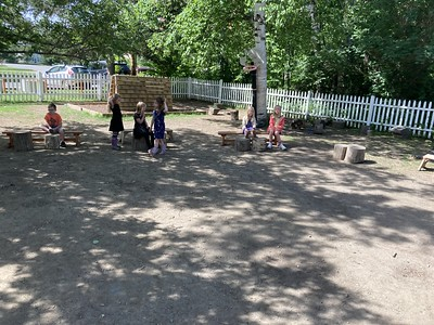 setting up their benches and stumps