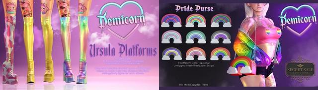 {Demicorn} Ursula Platforms and Pride Purses SSS 6/13 (Sunday)