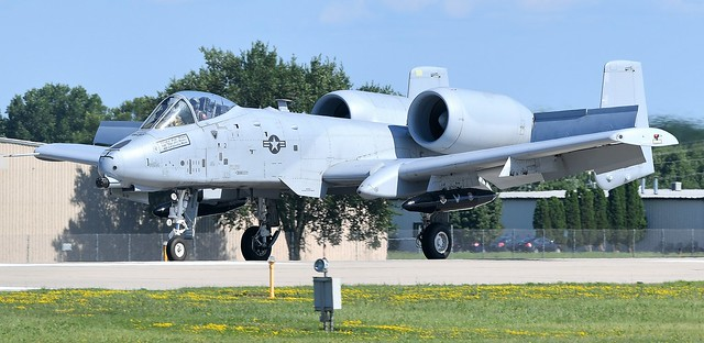 Fairchild Republic A-10 Thunderbolt II also called the Warthog USAF The A-10 was designed to drop bombs, fire rockets, missiles, and its 30 mm Gatling Gun at enemies on the ground