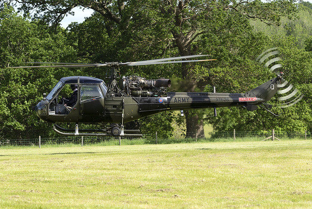 UK Army Air Corps Historic Flight Westland Scout AH.1 XT626 at the Midlands Air Show 2021 (Ragley Hall,Alcester)