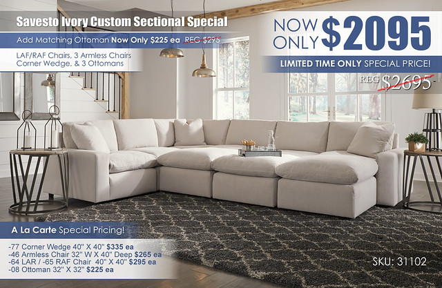 Savesto Ivory Custom Sectional Special_31102-64-46-77-46(2)-65-08(3)_June2021