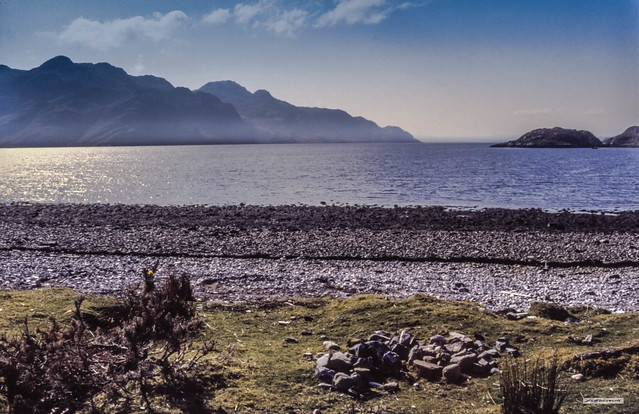 Looking out to sea at the fjord, Loch Hourn, near Corran, Western Highlands.
