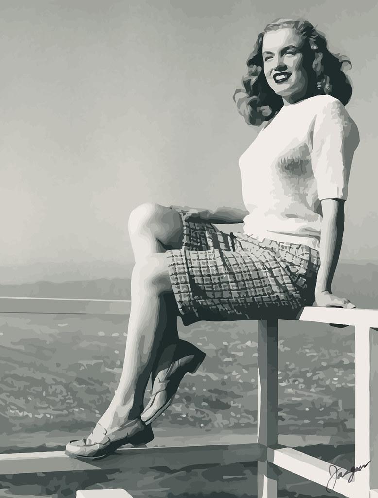 Marilyn sobre el cartel de Hollywood, fotografiada por Joseph Jasgur, marzo de 1946_vectorized