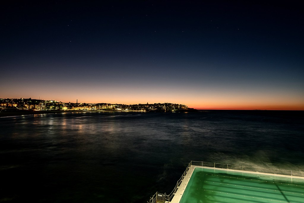 While the forecast was for a cloudy Sydney dawn, I got a clear start to the day at Bondi with the famous Icebergs Pool glowing in the bottom right.