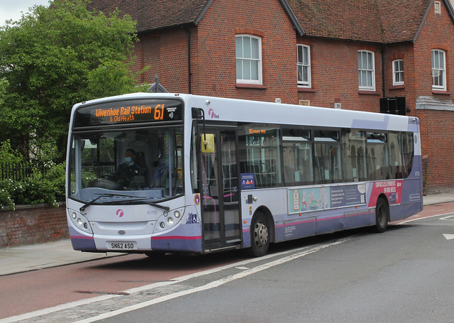 First Essex Buses . 67755 SN62ASO . High Street , Colchester , Essex . Wednesday morning 26th-May-2021 .