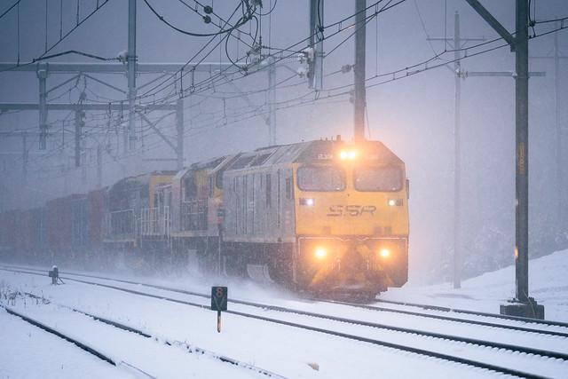 Kicking up snow