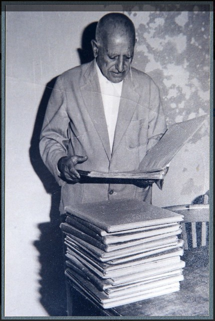 Ragheb Moftah reviewing the Ernest Newlandsmith notations of Coptic hymns ca. 1970s