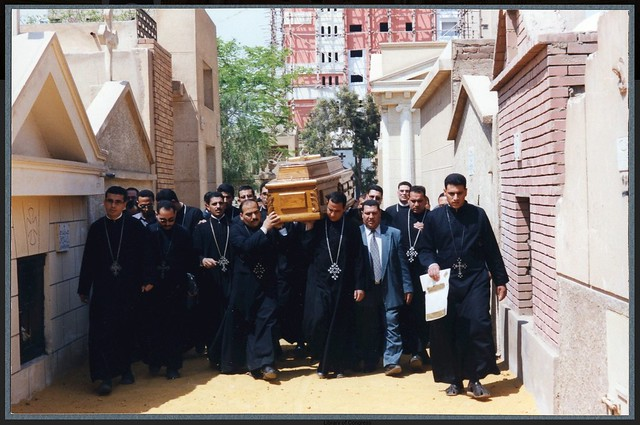 Dr Ragheb Moftah getting to his final rest place 25 April 2002