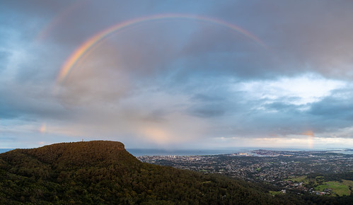 rainbow wollongong newsouthwales australia panorama robertsonslookout mtkeira keira portkemblasteelworks portkembla steelworks hdr landscape pano