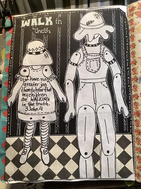 Sunbonnet Sue & Smilin' Sam Art Journal Page