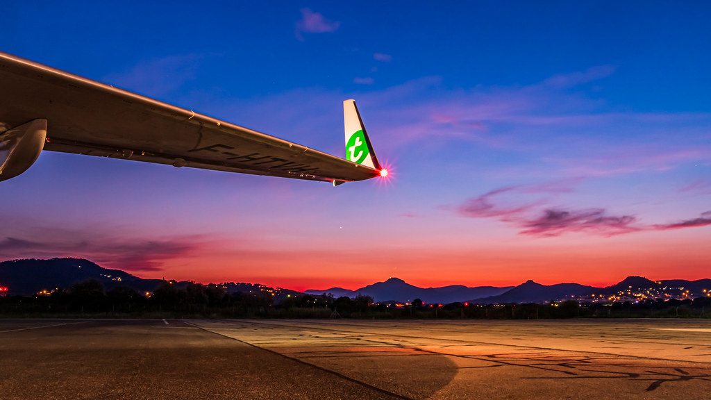 Twilight at the airport.