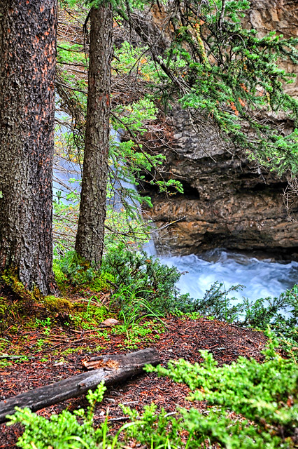 The foam of the waterfall