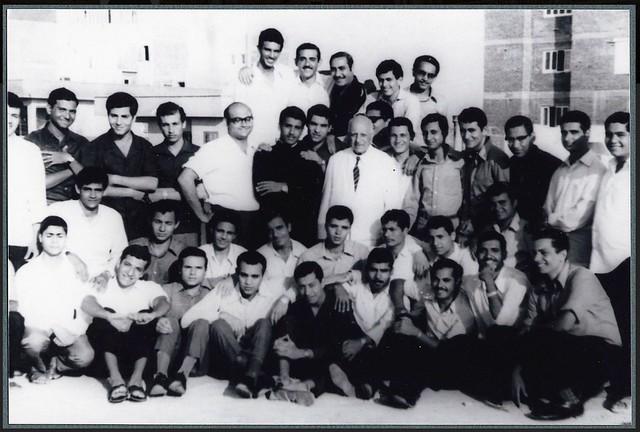 Ragheb Moftah with members of the Coptic choir training to chant Coptic hymns in Abu-Kir Alexandria ca. 1960s