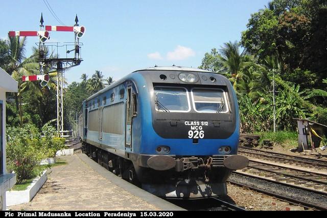 S12 926 at Peradeniya (Udarata Menike No 1016 Badulla - Colombo Fort) in 15.03.2020