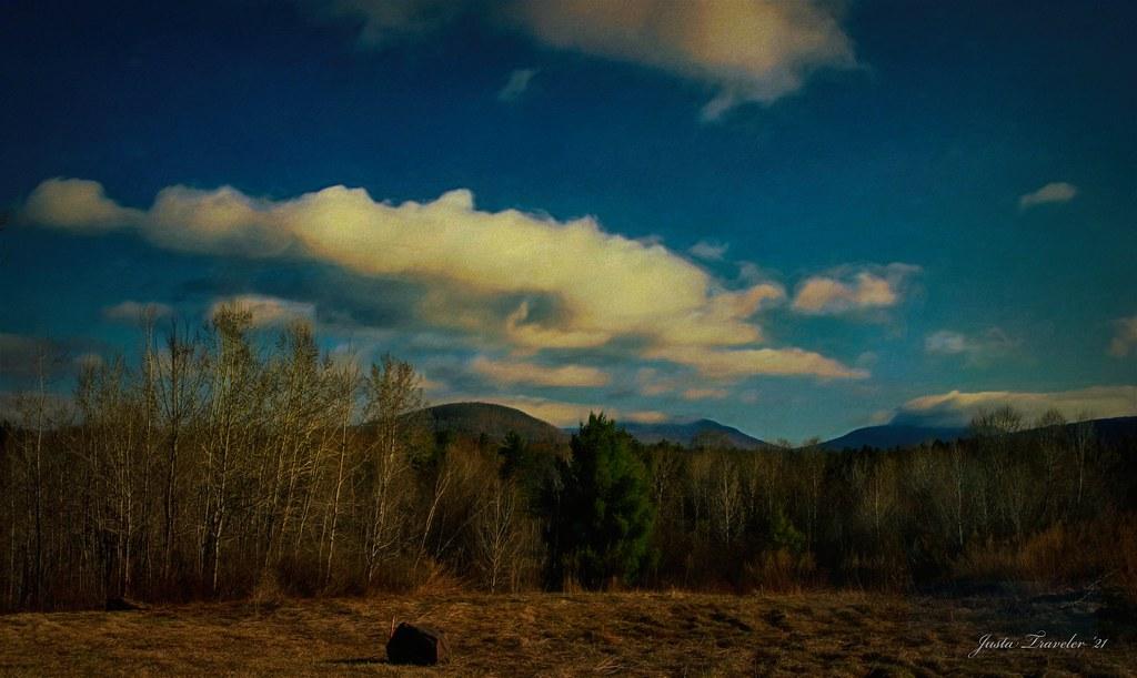 Last rays of winter sun. Catskills at Hunter Mtn.