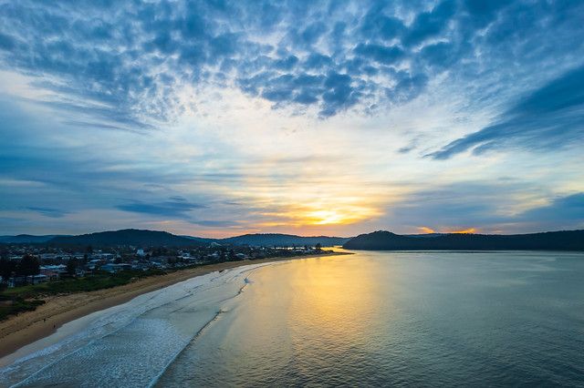 Aerial views sunrise at the seaside