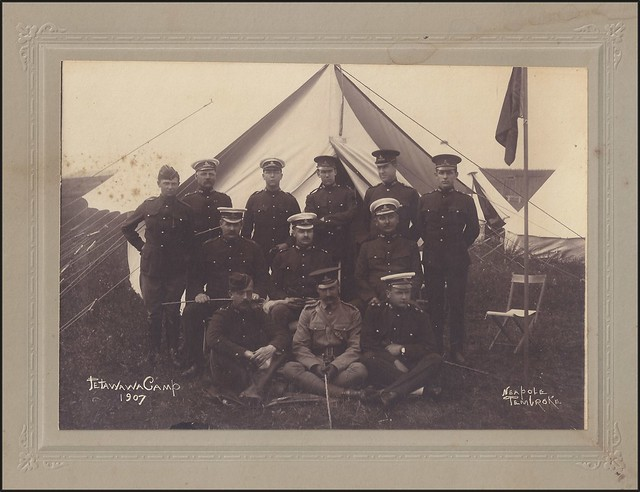 1907 Neapole / Pembroke Photo - Pre-WWI Photo of Artillery Officers and Soldiers in full Uniform, in Front of a Tent at the Petawawa, Ontario Military Camp
