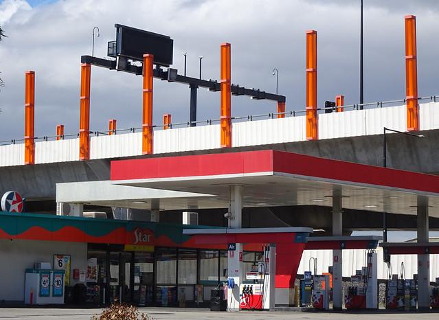 Poles on Petrol Station