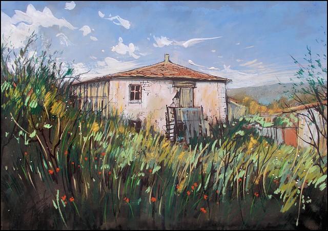 AN OLD HOUSE AND GARDEN (EN-PLEIN-AIR SKETCH)