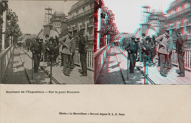 Paris Expo 1900. Sur le pont roulant