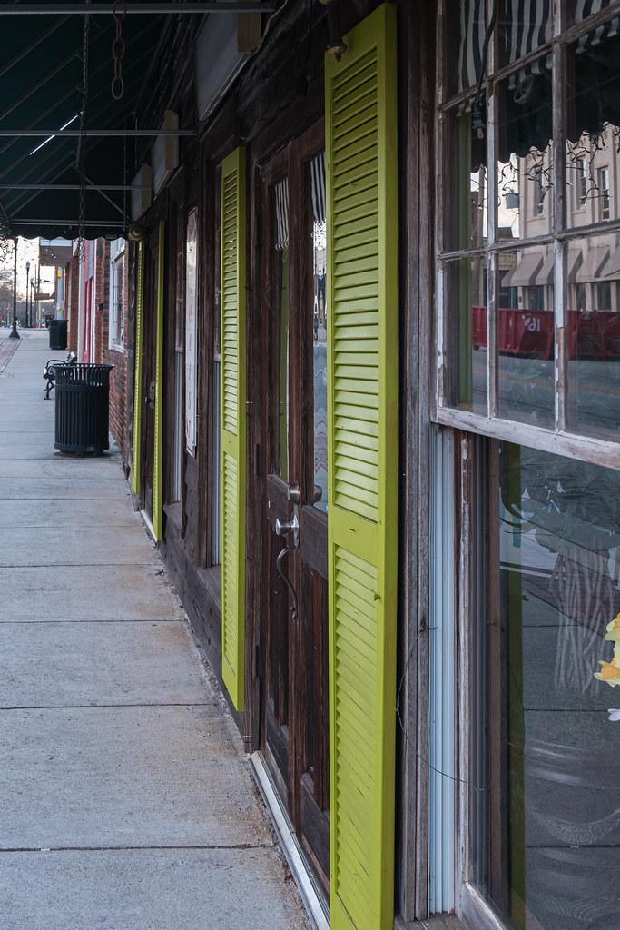Green shutters in Royston, Georgia