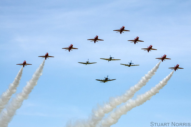 Eagle Squadron with the Red Arrows - Duxford Spring Air Show 2013