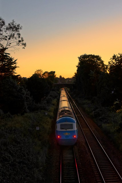 Blue Midland Pullman HST heads off into the night