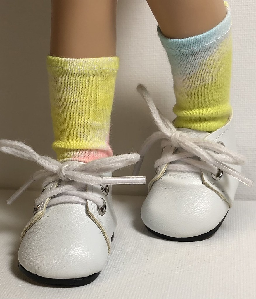 Yellow, Blue And Pink Tie-Dyed…Short Socks For Paola Reina Dolls…