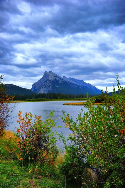 Mount Rundle behind Vermilion Lake