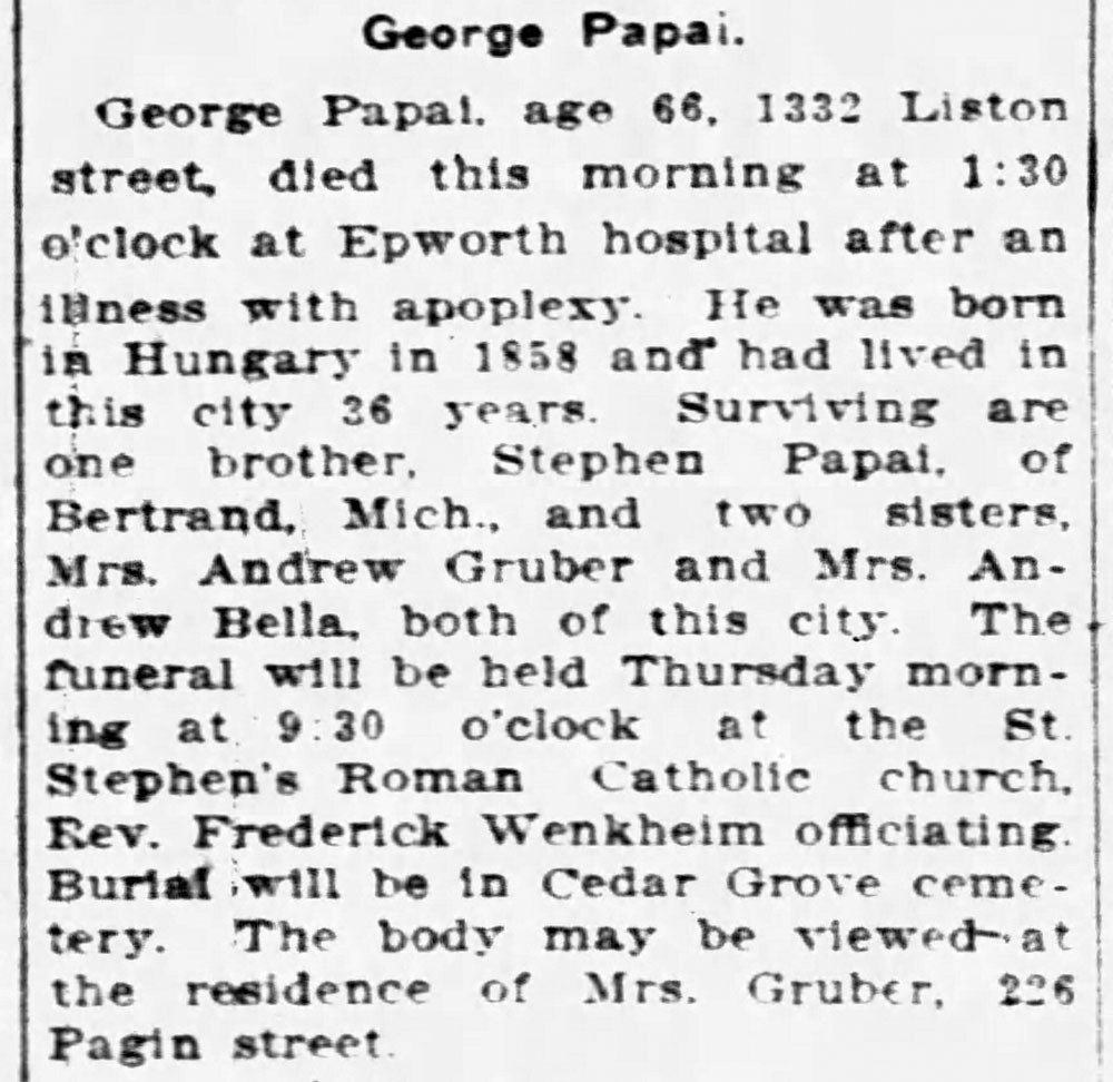 1924 - George Papai obit - South Bend Tribune - 13 May 1924