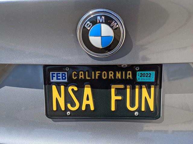 NSA FUN custom plates, BMW, Sunset Junction, Silver Lake, Los Angeles, California, USA