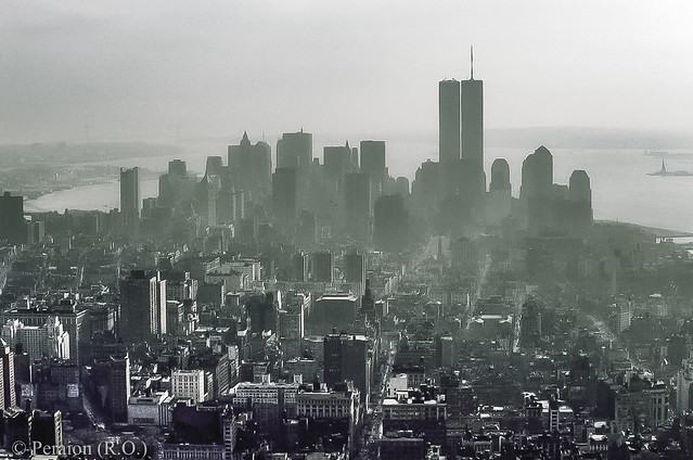 New York. Former skyline of the financial district viewed from the Empire State Building - 1988