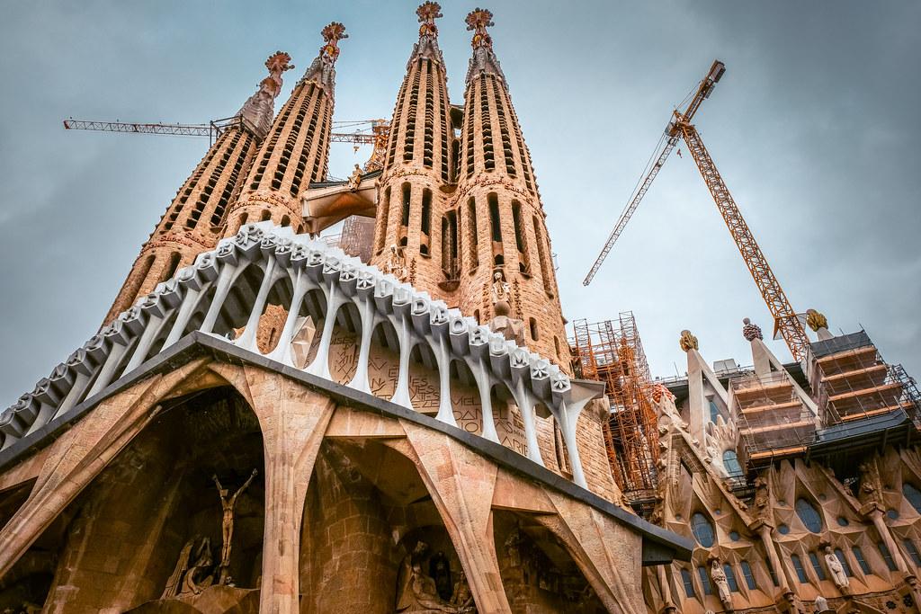View from below La Sagrada Familia in Barcelona