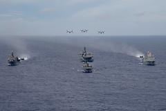 The America Amphibious Ready Group sails in formation with the Japan Maritime Self Defense Force tank landing ship JS Shimokita (LST 4002), June 13. (U.S. Navy/MC3 Jomark A. Almazan)
