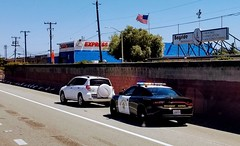 Dodge Charger from California Highway Patrol on a traffic stop on 101