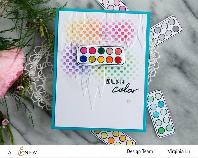 Altenew-MD Mini Paintbox-Geometric Castle 3D Embossing Folder -Feeling Dotty Stencil -003