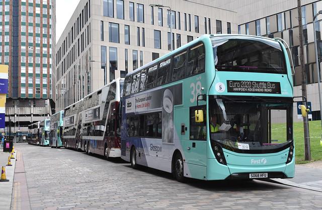 First Glasgow Alexander Dennis Enviro 400 MMC 34374 UEFA Euro 2020 Shuttle Service