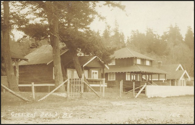 c. 1930 Stride / AZO Real Photo Postcard (#102) - View of Summer Cottages along the Waterfront at Crescent Beach, British Columbia