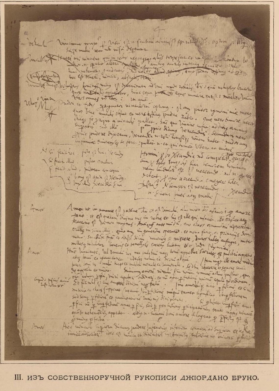 14. III. Из собственноручной рукописи Джорждано Бруно