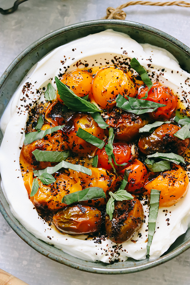 Charred Roasted Cherry Tomatoes with Cold Yogurt