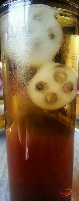Cold drink with funny ice cubes