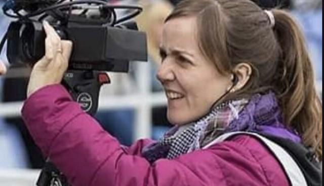 Alicia Rodríguez, en su trabajo como operadora de cámara en Huelva