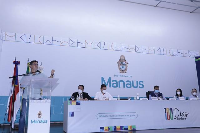 14.06.21 - Prefeito David Almeida e governador Wilson Lima realizam coletiva sobre o resultado do final do mutirão de vacinação contra a covid-19