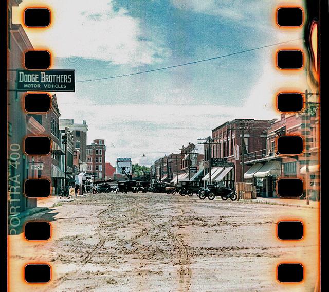 Downtown Pawhuska, circa 2021, made to look 1921